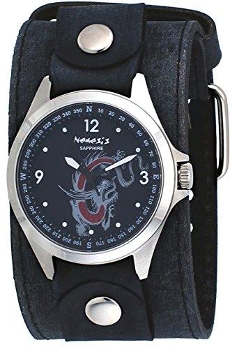 Nemesis flbb250d Hombres de la firma Sapphire Collection negro serpiente dragón Dial de ancho correa de piel