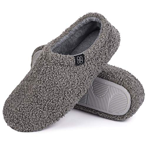 HomeTop Women s Fuzzy Curly Fur Memory Foam Loafer Slippers Bedroom House Shoes with Polar Fleece Lining (5-6 M, Gray)