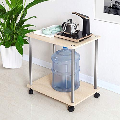 Modern Koffietafel, Houten vierkante tafel, Chrome salontafel met onderblad en wielen, voor Living Room Slaapkamers (op basis van hout panel),Beige