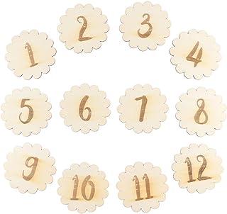 STOBOK Cartes de numéro de mois de naissance de bébé, 12pcs numéros de dentelle anniversaire bébé créatif commémorent les ...