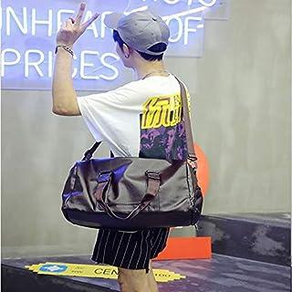 HAWEEL Foldable Travel Bag, PU Leather Shoulder Travel Bag Sport Leisure Men Handbag with Shoes Socket (Color:Black Size: + L) (Color : Brown, Size : S)