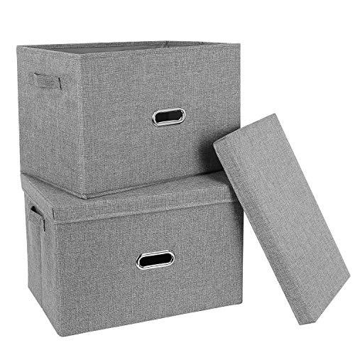 Homfa 2er Aufbewahrungsbox mit Deckel Griff Faltbar Stoff Grau Groß Set 44.5x29x29.5cm