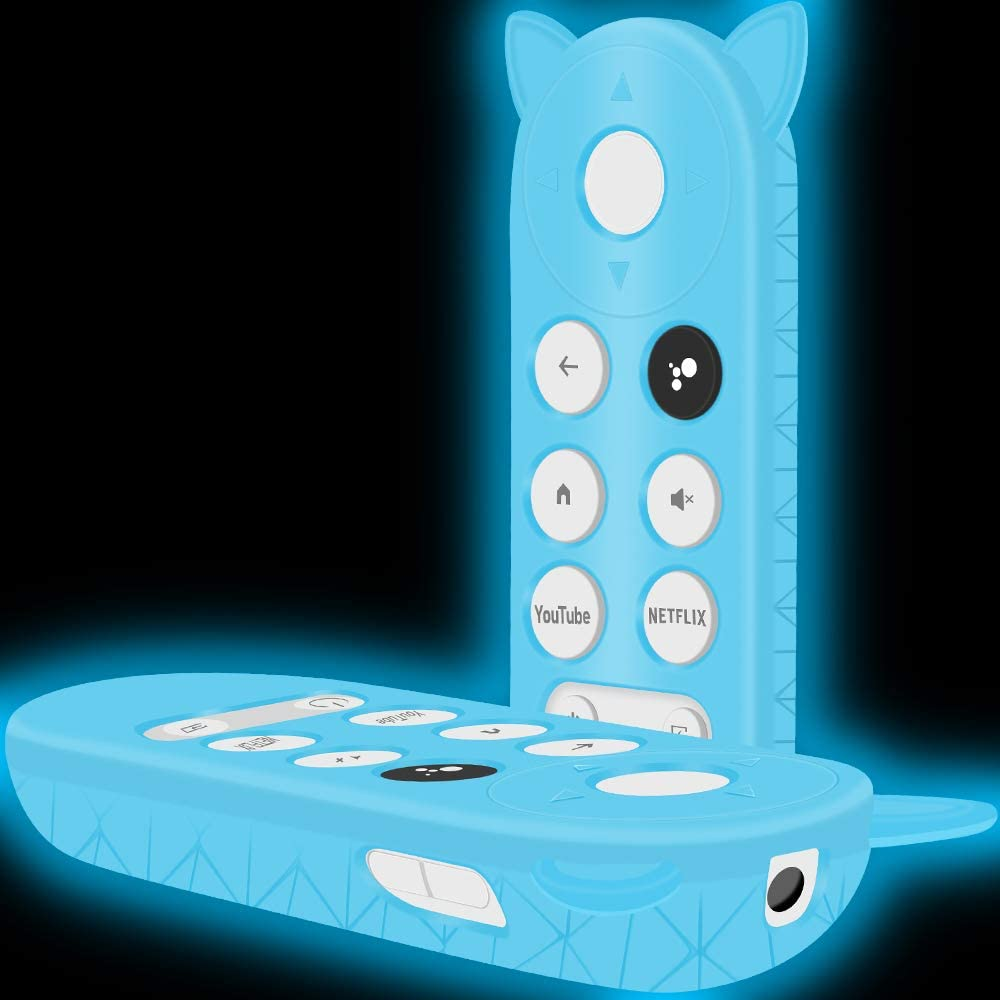 Silicone Protective Case Holder for Google Chromecast Remote Control,[Full Protection ] Cute Cat Shape Shock Absorption Bumper Google Voice Remote Back Covers Case Protector Skin Sleeve-Glowblue