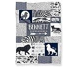 Safari Lions Baby Blanket for Boys or Girls - Personalized Savanna Themed (Lightweight Minky Fleece - 30' x 40' White Back)