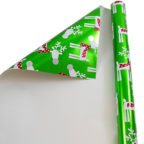 JAM PAPER Gift Wrap - Christmas Foil Wrapping Paper - 25 Sq Ft - Green with Cute Reindeer - Roll Sold Individually
