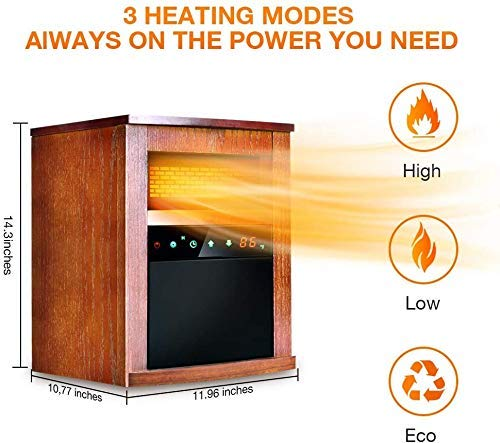 Infrared Heater, Space Heater with 3 Heating Modes, Remote Control, and Timer, Electric...