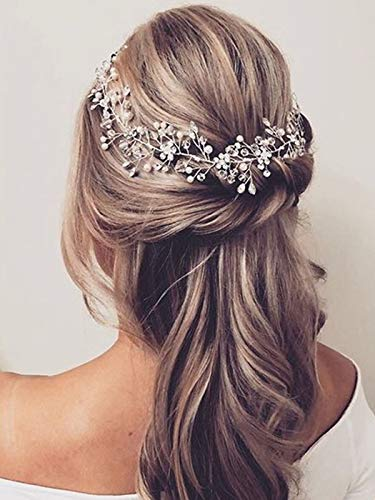 Unicra Flower Bride Wedding Hair Vine Bridal Rhinestone Headband Pearl Hair Accessories for Women and Girls (Silver)