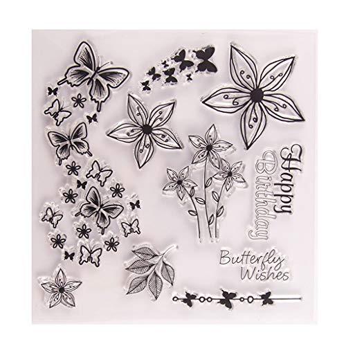 Xurgm Silikonstempel Set - Schmetterling und Blume Motive - Clear Stamps DIY Handwerk Scrapbooking Dekorieren