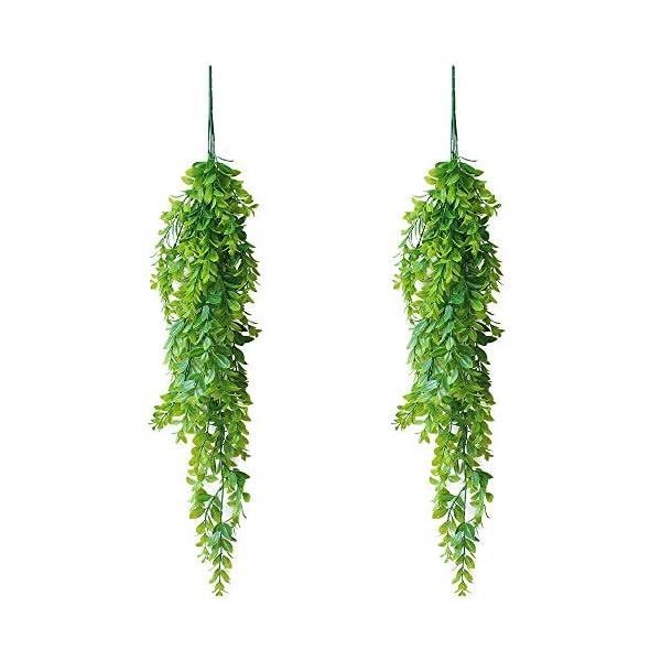 KingYH 2 Piezas 80cm Plantas Colgantes Artificiales Decoracion Hiedra Verde Plastica Falsa Follaje Vid para Decoración…