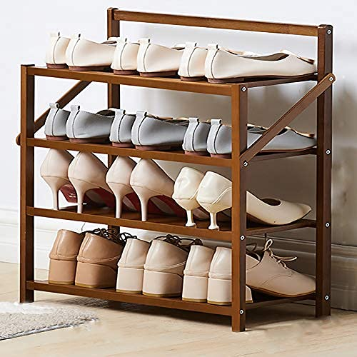 HHTX Zapatero de bambú de 4 Niveles, Estante para Zapatos Plegable, portátil y de pie, Organizador de Almacenamiento con Soporte para Zapatero Ajustable para Entrada, Armario, Pasillo, marrón 50x
