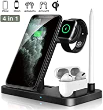 Wireless Charger Dock 4 in 1 Fast Charging Station, iKALULA Nightstand QI Quick Charger, Foldable Adjustable Stand for iPhone SE/11/11 Pro Max/XR/XS Max, iWatch 5/4/3/2/1 Airpods Pro/2/1 Apple Pencil