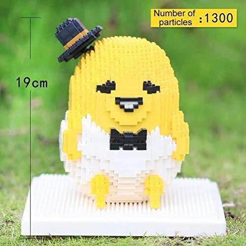 Zenghh 1300pcs Netter gelber Gudetama Puppen DIY Building Blocks/Micro-Pellet-Korn-Diamant-Zauber einsetzen 3D Cubic Assembly Mini Puzzle Montage der neuen beiläufigen Decompression Spielzeug-Modell