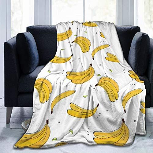 QINCO Throw Blanket Lightweight Soft Warm,Vitamin Tasty Bananas,Microfiber All Season Living Room/Bedroom/Sofa Couch Bed Flannel Quilt,60' x 80'