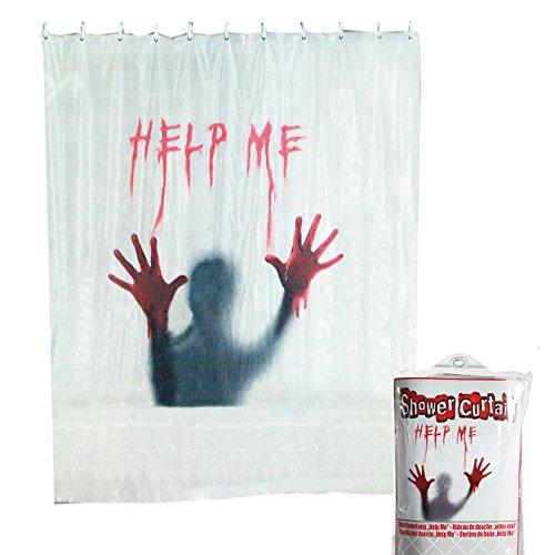 Preis am Stiel Halloween Duschvorhang Help Me | Horror | Blutbad Duschvorhang | Halloween Accessoires | Grusel Deko | Scary Blutige Hände | Handabdruck Halloween | Blutbad | Badezimmer Dekoration