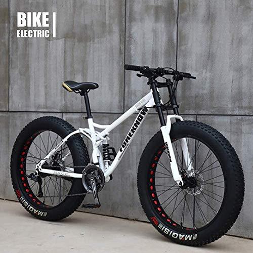 Vélo VTT Haut, Fat Wheel Moto/Fat Bike/Fat Tire Mountain Bike, Beach Cruiser Fat Tire Bike Snow Bike Fat Big Tire Bicycle 21 Speed,Blanc,26IN