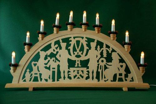 Yanka-style 10744 - Arco luminoso XXL per montagne, 98 cm di larghezza, 55 cm di altezza, 10 luci, in legno, decorazione natalizia