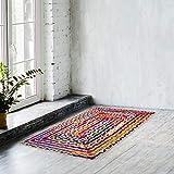 Naqsh Alfombra de algodón de yute – 2 x 3 pies rectangular tejida a mano multicolor de algodón reciclado, reversible trenzado