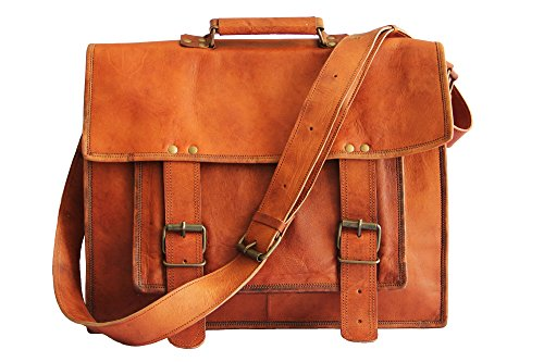 18 Inches Brown Leather Cross-Body Messenger Bag/Leather Laptop Bag for Men/Women