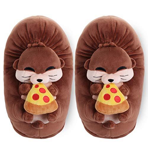 corimori – Murphy der Otter, Plüsch-Hausschuhe für Kinder und Erwachsene, EU Einheitsgröße 34-44 (Braun)