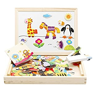 Lewo Wooden Educational Toys Magnetic Art Easel Animals Wooden Puzzles Games for Kids by Muwanzi