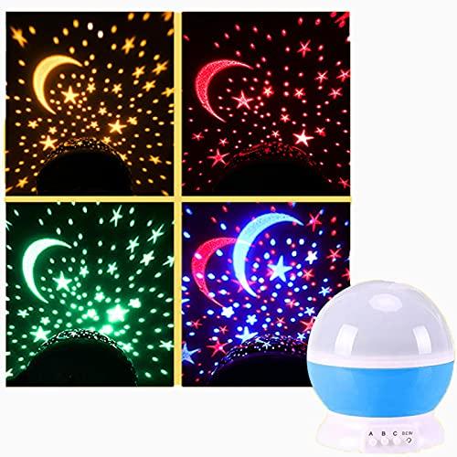 Proyector de cielo, cielo estrellado, luz de noche LED giratoria, iluminación elegante nocturna, luz de regalo para niños, adecuada para la decoración del dormitorio de los niños-Blue-star