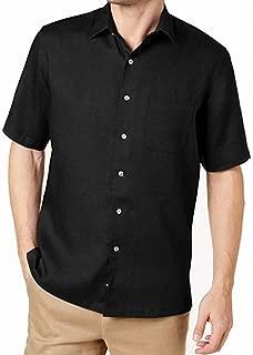 Tasso Elba Ginger Coral Mens Large Linen Button Down Shirt