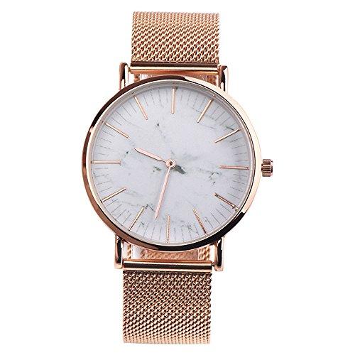 Armbanduhr Damen Ronamick Mode-Uhr-Edelstahl-Paar-Quarz-analoge Armbanduhr Armband Armbanduhr Uhr Uhren(WH)