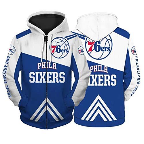 Philadelphia 76ers - Sudadera con capucha para hombre, talla grande, talla grande para el equipo, impresión 3D en anchura completa, talla XXL