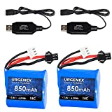 URGENEX 7.4V Lipo Battery 850mAh 2S RC Boat Battery with SM 2P Plug 6.29Wh H100 Batteries for Skytech TKKJ H100 H102 with 2PCS USB Charger