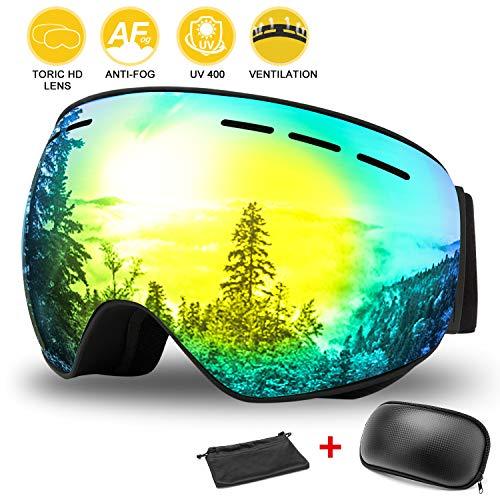 WOTEK Skibrille, Outdoor-Sport Snowboard-Schutzbrillen mit Anti-Nebel UV-Schutz Austauschbare sphärische rahmenlose Linse, Winddicht für Motorrad Skifahren Skaten (Gold)