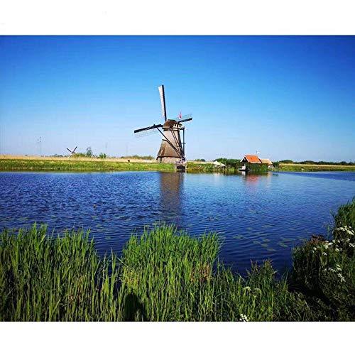 Wqavten schilderen met de cijfers van Nederland molen in Vento Landschap digitaal schilderij met de cijfers Moderne kunst van canvas wanddecoratie 40 x 50 cm