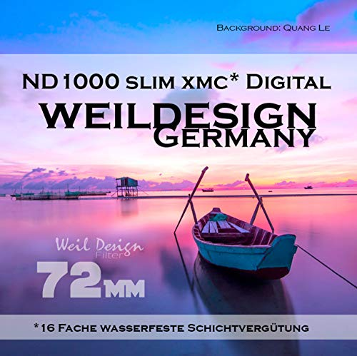 Graufilter ND Filter 1000 weildesign 72mm Slim XMC Digital Weil Design Germany * 10 Blendenstufen * Frontgewinde * 16 Fach XMC vergütet * inkl. Filterbox (ND1000 72mm)
