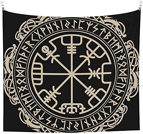 Brújula rúnica mágica vikinga celta negra en el círculo de runas nórdicas y dragones tapiz de tatuaje para colgar en la pared para sala de estar dormitorio decoración de picnic 60x40 en (152x102cm)