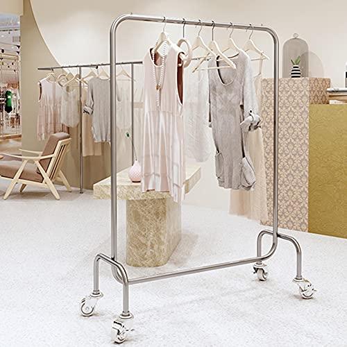 Estante de exhibición de ropa, percha tridimensional de acero inoxidable, barra horizontal simple con estante de exhibición de ruedas, perchero con ruedas abierto para el hogar/Plata / 80×40×1
