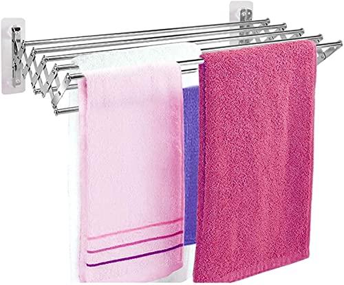 Montado en la pared plegable Colgador de ropa Paño de secado Racks Colgando de lavandería para ahorrar espacio retráctil Línea de lavado Toalla interior Estantería Easy Storage, para uso en exteriores