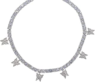 Butterfly Tennis Chain Necklace for Women Iced Out Zirconia Butterfly Hip Hop Clavicle Choker for Girls