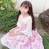 LJYNB Verano mujer dulce Lolita Slip vestido con volantes Lolita paraguas sling falbala vestido lindo caramelo vestido y blusa talla única vestido rosa