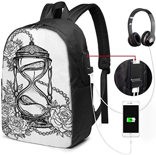 Schulrucksack-Taschen mit USB-Ladeanschluss und Kopfhörerbuchse, Bleistiftzeichnung Romantisches Thema Sanduhr Symbol der ewigen Liebe mit Rosendruck, 17 Zoll