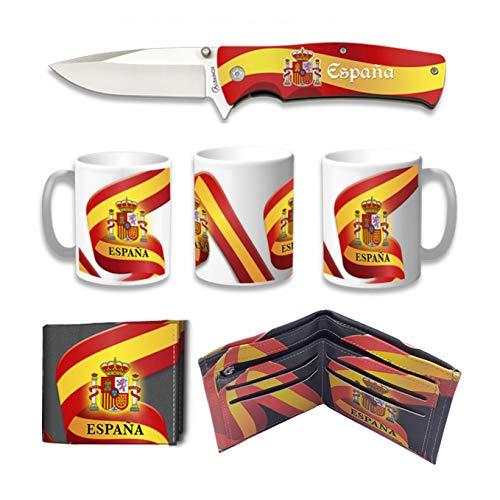Tiendas LGP Albainox – 39217 –Set Navaja ALBAINOX Bandera de España, Taza Diseño 3D Bandera de España, Cartera Diseño 3D Bandera de España Ideal para Caza, Pesca, Camping, Supervivencia y Bushcraft