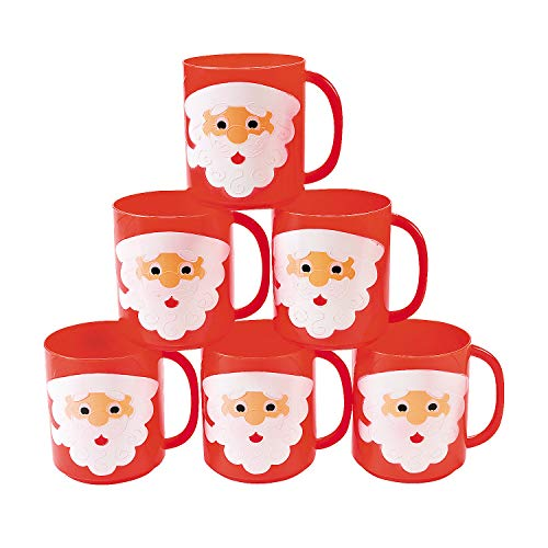 Santa Face Mugs for Christmas (set of 12 plastic cups) Holiday Party Supplies Arizona