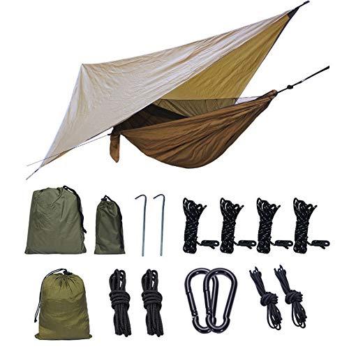 WYW Hamaca Camping 270 x 140 cm,con Marquesina,300kg de Capacidad de Carga,Secado Rápido,Transpirable,Hamaca Colgantes de Nylon Ultraligera para Viajes y Acampadas,1