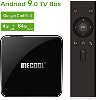 Mecool TV Box, KM3 Android 9.0 4K TV Box with Voice Remote.DDR4/4GB/64GB Google Certified Media Player Support 2.4G/5G WiFi and BT4.0 or Above
