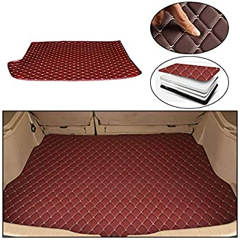 Maite Custom Car Trunk Mats for Volkswagen Polo Hatchback 2014-2018 Leather Car Boot Mats Waterproof Cargo Liner Protector Cover Red wine