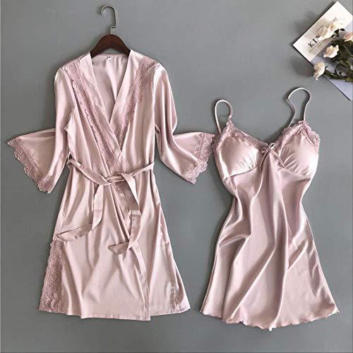 Lente Zijde Stain Pyjama Robe Kant Slapende Jurk Met Borst Pad Vrouwen Herfst Tweedelige Set Nachtjapon Rok+jas Huiskleding XL Roze