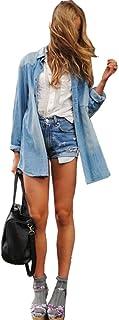 CelebrityDesignz Celebrity Style Womens Vintage Boyfriend Chambray Long Denim Shirt Dress IN HAND -ts12N3L