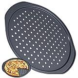 FANDE Teglie per Pizza Rotonde Forate Antiaderenti, Teglia Antiaderente Bucata per Pizza Teglia da Forno con Buchi Multiuso, per Pizza Croccante, Cottura Uniforme (ø 36 cm)