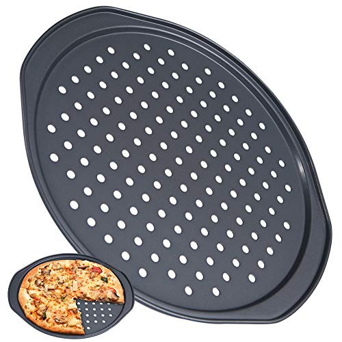 FANDE Moldes para Hornear Pizza, Utensilios para Hornear antiadherentes, Molde para Pizza con Agujeros, Bandeja Profesional para Hornear Pizza de Corteza Crujiente Redonda (36 cm)