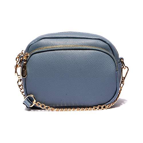 VITACCI Womens Handbag Leather Crossbody Purse Small Crossbody Bags for Women with Chain Strap Blue