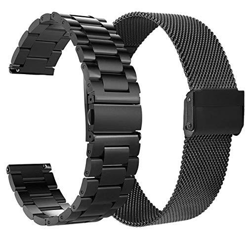 VIGOSS Kompatible Für Samsung Galaxy Watch Active 2 40mm 44mm Armband Schwarz Metall Edelstahlarmband Männer Ersatz Armband Für Samsung Galaxy Watch Active 20mm Smartwatch