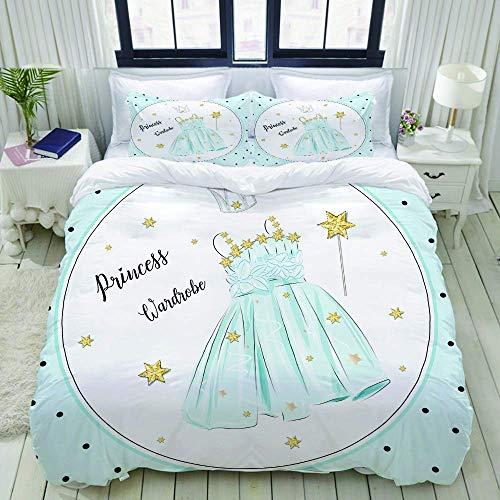 Bettbezug, niedliches Mädchen Prinzessin Kleid Kleiderschrank blau, Bettwäsche-Set Ultra Bequeme leichte Luxus-Polyster Bettbezug-Sets